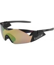 Bolle Sjette sans s skinnende svart modulator brun smaragd solbriller
