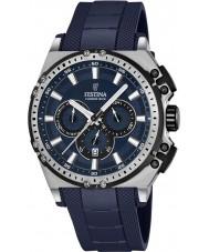 Festina F16970-2 Mens Chrono sykkel blå gummi chronograph klokke