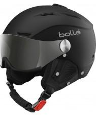 Bolle 31156 Back visir myk svart og sølv skihjelm med sølv pistol og sitron visir - 59-61cm