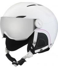 Bolle 31159 Juliet visor myk hvit ski hjelm med sølv pistol og sitron visir - 52-54cm